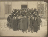Group in front of first Dickey County Courthouse, Ellendale, N.D.